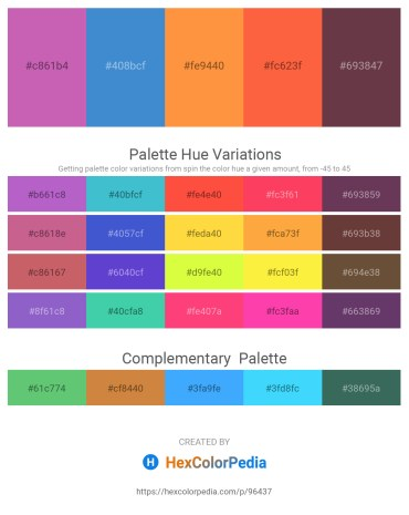 Palette image download - Orchid – Royal Blue – Coral – Tomato – Steel Blue