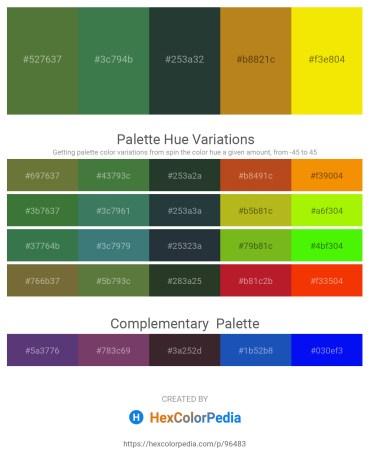 Palette image download - Dark Olive Green – Sea Green – Dark Slate Gray – Chocolate – Gold