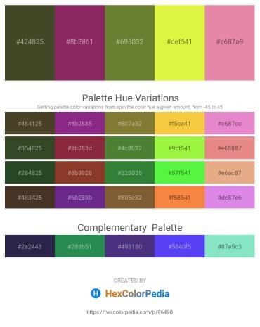 Palette image download - Dark Olive Green – Light Slate Gray – Dark Olive Green – Green Yellow – Pale Violet Red