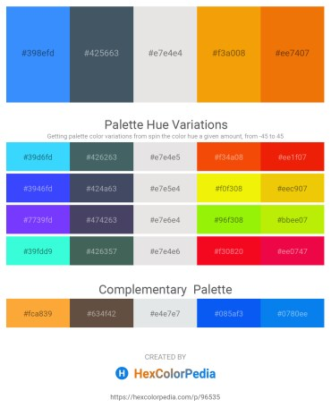 Palette image download - Dodger Blue – Dark Slate Gray – Gainsboro – Orange – Dark Orange