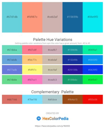 Palette image download - Medium Turquoise – Light Salmon – Rosy Brown – Rosy Brown – Aqua