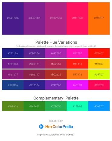 Palette image download - Midnight Blue – Dark Orchid – Medium Violet Red – Deep Pink – Dark Orange