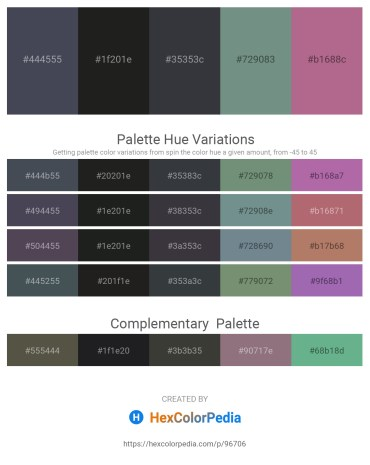 Palette image download - Dark Slate Gray – Black – Dark Slate Gray – Slate Gray – Rosy Brown