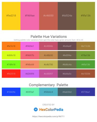 Palette image download - Gold – Hot Pink – Indian Red – Dim Gray – Yellow Green