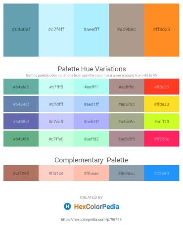 Palette image download - Cadet Blue – Light Cyan – Light Cyan – Rosy Brown – Dark Orange