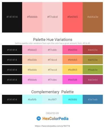 Palette image download - Black – Light Pink – Antique White – Tomato – Sienna