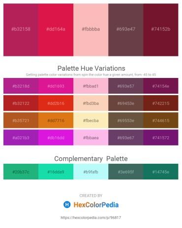 Palette image download - Firebrick – Crimson – Light Pink – Forest Green – Rosy Brown