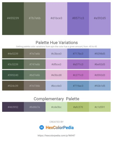 Palette image download - Dark Olive Green – Gray – Light Steel Blue – Slate Blue – Medium Purple