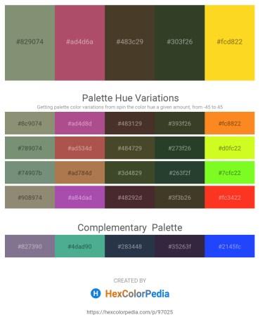 Palette image download - Dark Sea Green – Indian Red – Goldenrod – Dark Olive Green – Gold