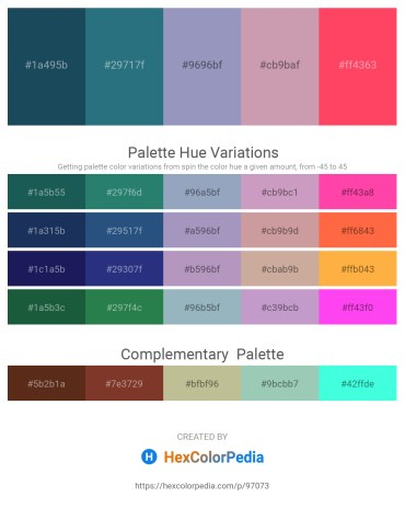 Palette image download - Midnight Blue – Misty Rose – Light Slate Gray – Rosy Brown – Tomato