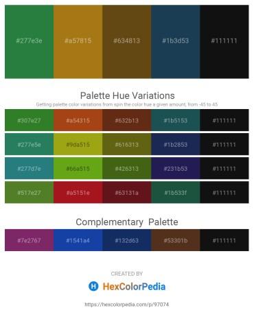 Palette image download - Sea Green – Dark Goldenrod – Saddle Brown – Midnight Blue – Black