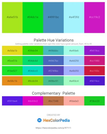 Palette image download - Yellow Green – Lime – Steel Blue – Light Sky Blue – Medium Violet Red