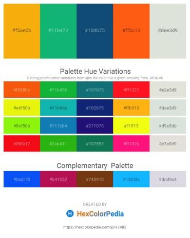 Palette image download - Orange – Light Sea Green – Midnight Blue – Orange Red – Gainsboro