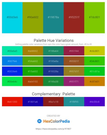 Palette image download - Dark Turquoise – Olive – Light Sea Green – Brown – Lawn Green