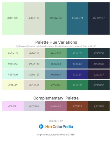Palette image download - Honeydew – Gainsboro – Cadet Blue – Black – Dark Slate Gray