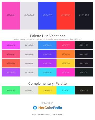 Palette image download - Hot Pink – Light Steel Blue – Royal Blue – Tomato – Peru