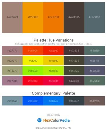 Palette image download - Rosy Brown – Orange – Dark Orange – Dim Gray – Slate Gray