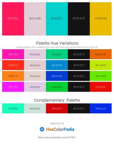 Palette image download - Deep Pink – Thistle – Dark Turquoise – Black – Orange