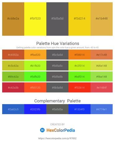 Palette image download - Peru – Yellow – Dim Gray – Gold – Goldenrod