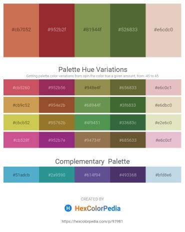 Palette image download - Indian Red – Brown – Dark Olive Green – Dark Olive Green – Tan
