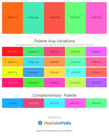 Palette image download - Orange Red – Turquoise – Tomato – Pale Green – Hot Pink
