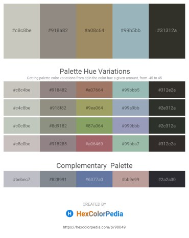 Palette image download - Silver – Gray – Dark Khaki – Dark Sea Green – Black