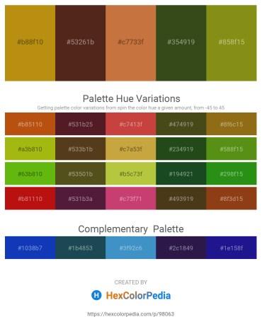 Palette image download - Dark Goldenrod – Brown – Peru – Dark Olive Green – Olive Drab