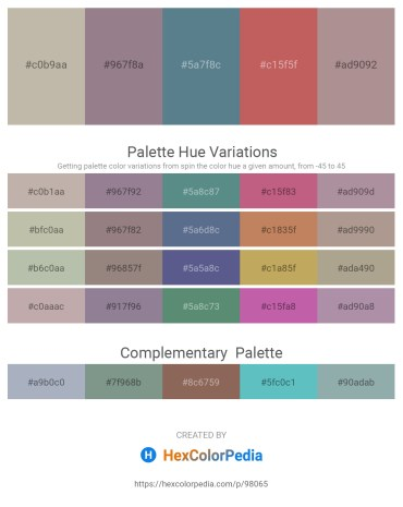 Palette image download - Silver – Gray – Cadet Blue – Indian Red – Rosy Brown