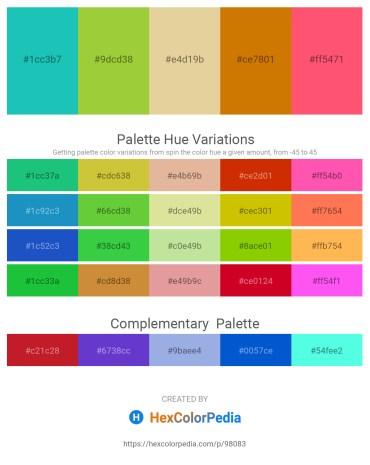 Palette image download - Light Sea Green – Yellow Green – Burlywood – Dark Goldenrod – Tomato