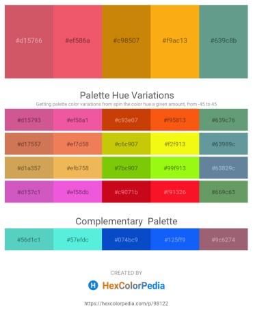 Palette image download - Indian Red – Light Coral – Dark Goldenrod – Orange – Cadet Blue