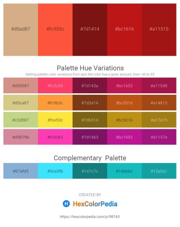 Palette image download - Tan – Tomato – Saddle Brown – Firebrick – Firebrick