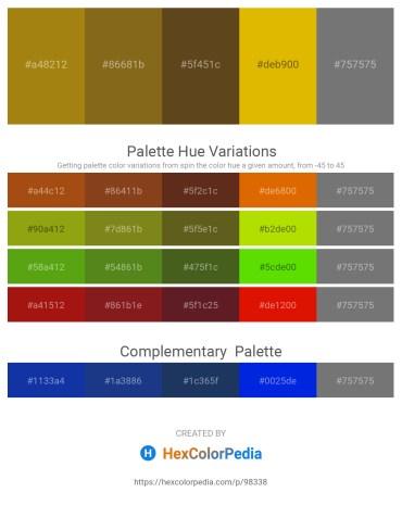 Palette image download - Dark Goldenrod – Saddle Brown – Rosy Brown – Orange – Gray