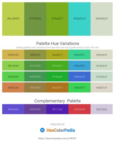 Palette image download - Yellow Green – Dark Olive Green – Olive Drab – Medium Turquoise – Light Gray
