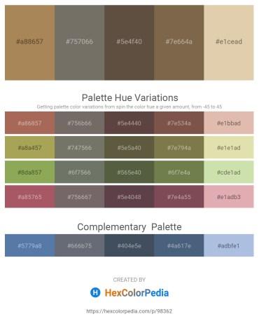 Palette image download - Dark Khaki – Dim Gray – Burlywood – Brown – Tan