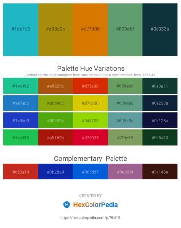 Palette image download - Light Sea Green – Dark Goldenrod – Dark Orange – Cadet Blue – Midnight Blue