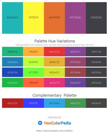 Palette image download - Light Sea Green – Yellow – Chocolate – Sienna – Dark Slate Gray
