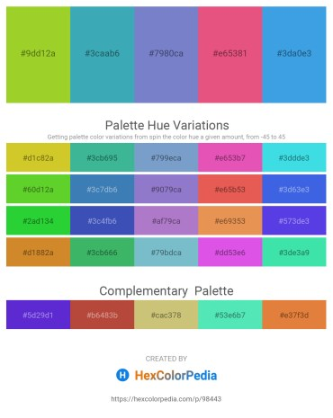 Palette image download - Yellow Green – Dark Olive Green – Slate Blue – Light Coral – Cornflower Blue