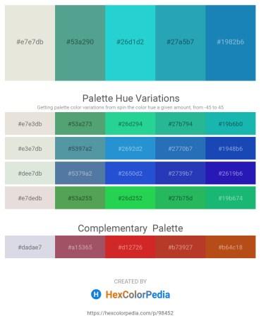 Palette image download - Gainsboro – Cadet Blue – Turquoise – Light Sea Green – Black