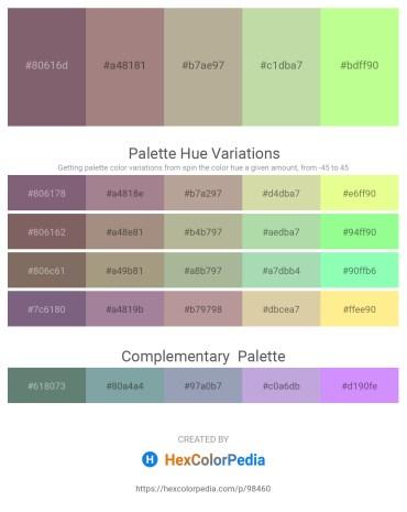 Palette image download - Dim Gray – Rosy Brown – Dark Orchid – Dark Olive Green – Pale Green