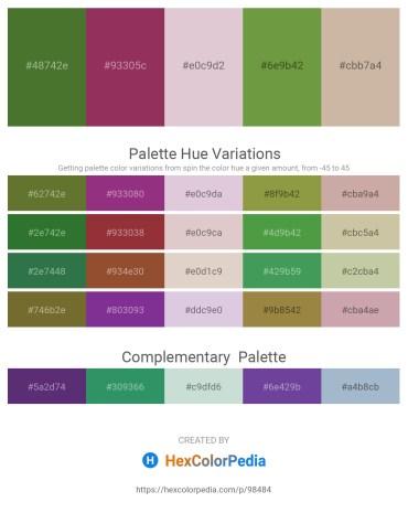 Palette image download - Dark Olive Green – Brown – Thistle – Dark Olive Green – Rosy Brown