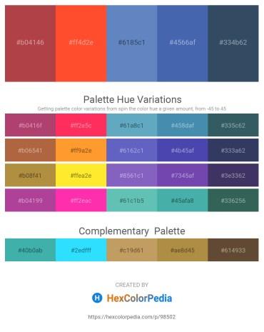 Palette image download - Sienna – Tomato – Steel Blue – Steel Blue – Dark Slate Gray
