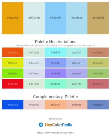Palette image download - Orange – Powder Blue – Light Sky Blue – Pale Turquoise – Dark Khaki