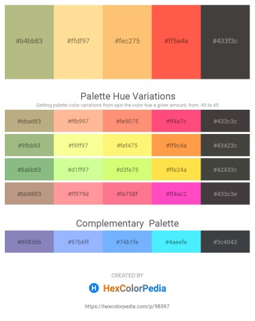 Palette image download - Dark Khaki – Navajo White – Light Salmon – Tomato – Dim Gray