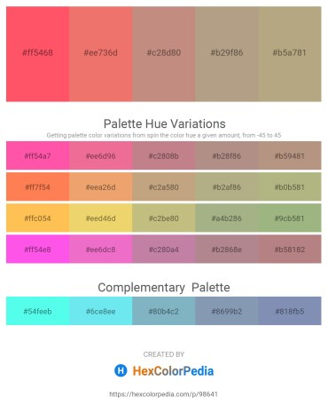 Palette image download - Tomato – Light Coral – Rosy Brown – Rosy Brown – Dark Slate Blue