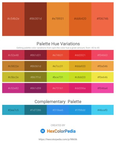 Palette image download - Sienna – Saddle Brown – Goldenrod – Chocolate – Tomato