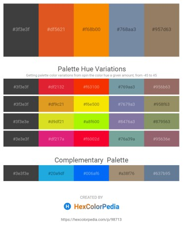 Palette image download - Dim Gray – Chocolate – Dark Orange – Light Slate Gray – Gray