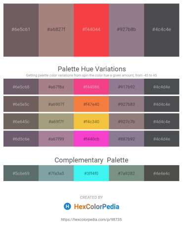 Palette image download - Dim Gray – Rosy Brown – Tomato – Gray – Dark Slate Gray