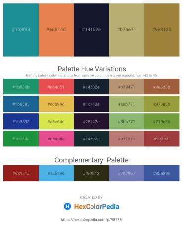 Palette image download - Light Sea Green – Dark Salmon – Light Sea Green – Dark Khaki – Sienna