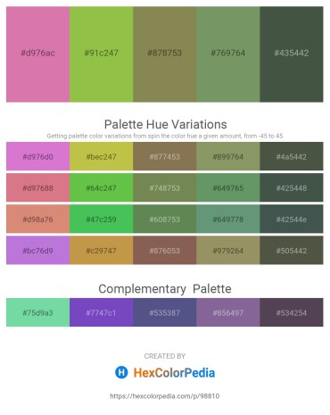 Palette image download - Pale Violet Red – Yellow Green – Dark Olive Green – Dark Sea Green – Dark Slate Gray