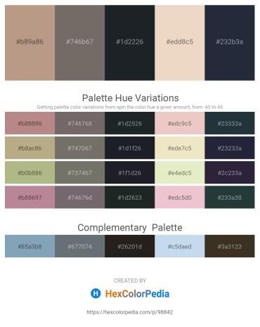 Palette image download - Rosy Brown – Dim Gray – Dark Slate Gray – Beige – Dark Slate Gray